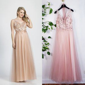 NWT Dave Johnny Blush Pink Lace Beaded Tulle Gown